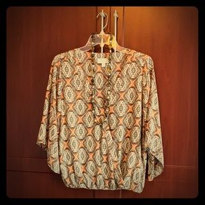 Veronica M Safari Blouse w 3/4 length sleeves